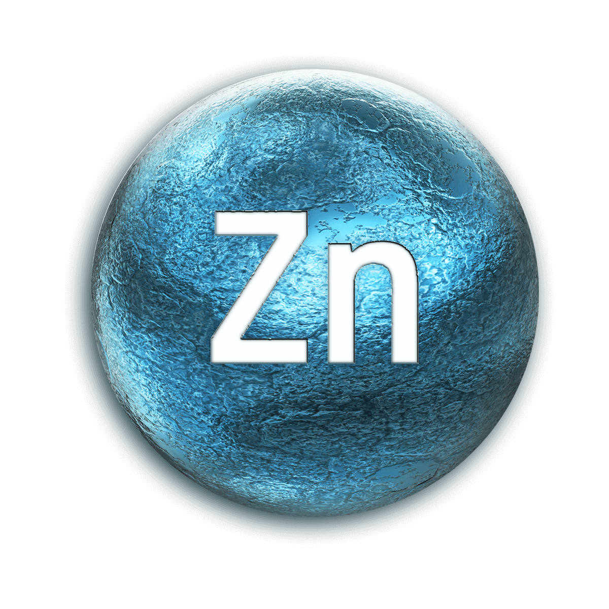 Metallic blue ball with periodic table chemical element symbol for Zinc.